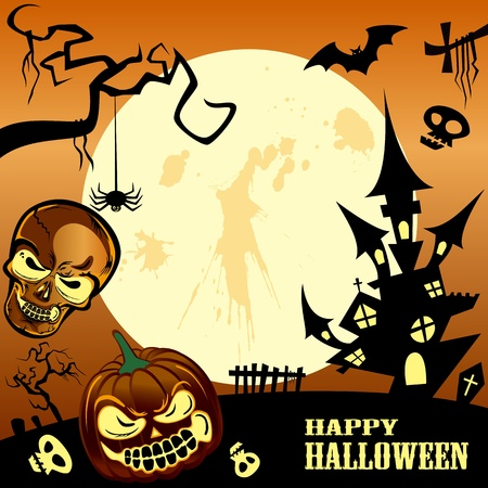 spooky tree: Happy halloween frame. Illustration vector. Illustration