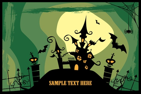 horror castle: Castle. Halloween image.