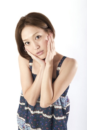 girl sit: Portrait of asian woman