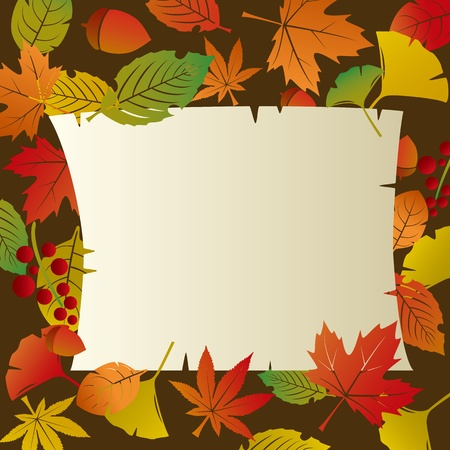 Autumn Foliage Leafs Frame Vector
