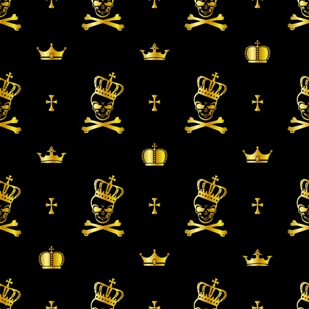 skull and crown: Seamless skull pattern Illustration