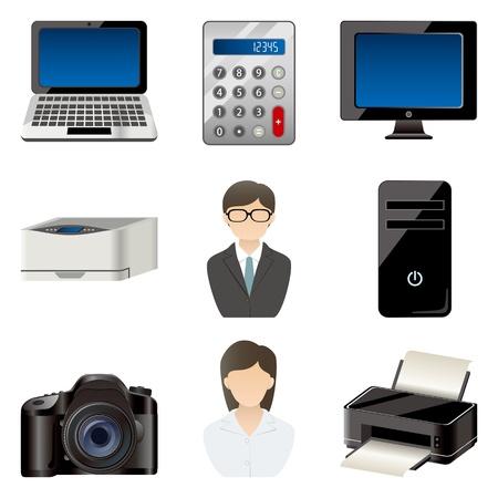 impresora: Conjunto de iconos de elemento de oficina