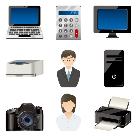 Office item icons set Vector