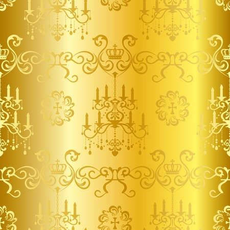 chandelier isolated: Seamless gold design pattern