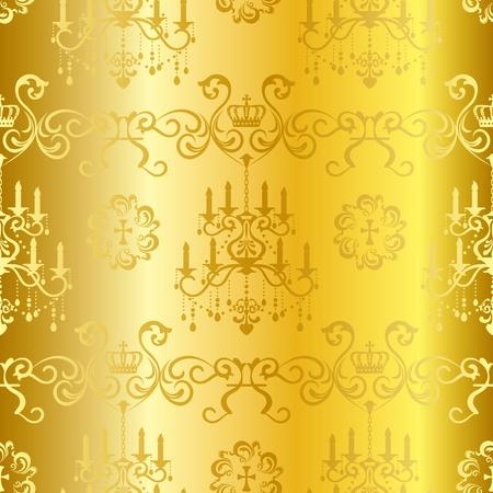 chandelier: Seamless gold design pattern