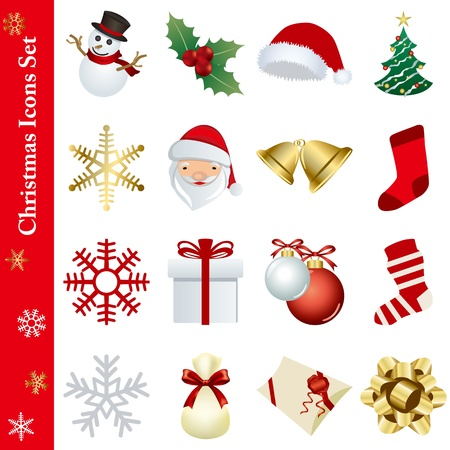 christmas sock: Christmas icons set Illustration
