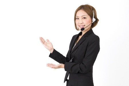 call center representative: Beautiful asian business woman  Stock Photo