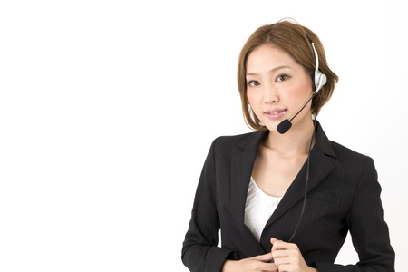 call center people in isolated: Beautiful asian business woman  Stock Photo