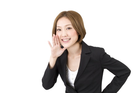 rooting: Beautiful asian business woman cheering  Stock Photo