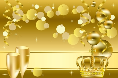 champagne celebration: Gold luxury background