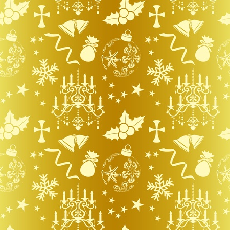 victorian christmas: Seamless gold christmas pattern Illustration