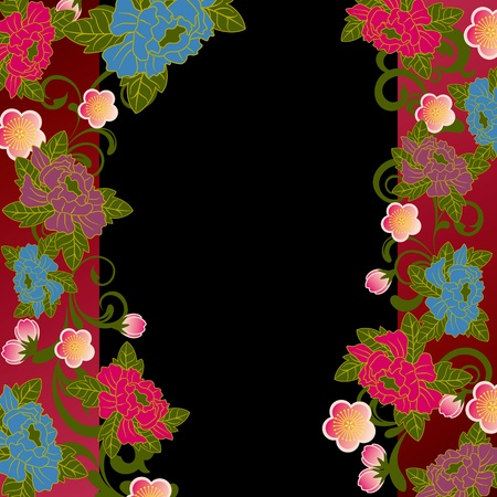 Asian floral frame Stock Vector - 11373444