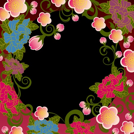 tree peony: Asian floral frame Illustration