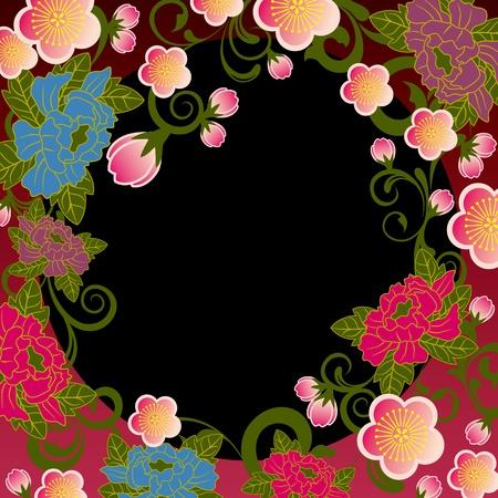 flores chinas: Marco floral de Asia