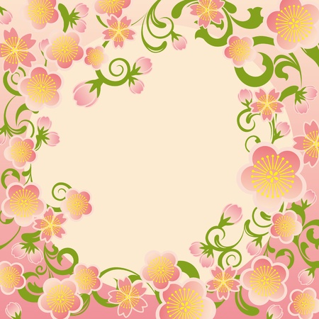 chinese new year element: Cherry blossoms frame