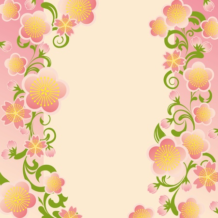 Cherry blossoms frame Vector