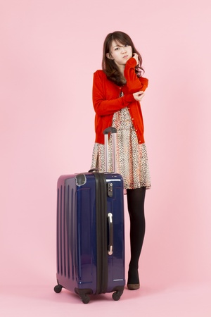 Beautiful asian woman traveling with bag Stock Photo - 11595218