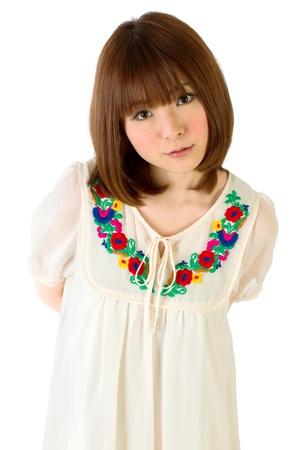 korean fashion: Mujer joven belleza. Retrato de mujer asi�tica.