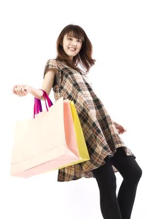 asian shopper: Shopping asian woman. Shopping image.