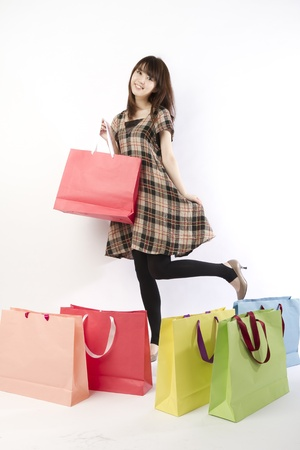 korean fashion: Shopping asian woman. Shopping image.