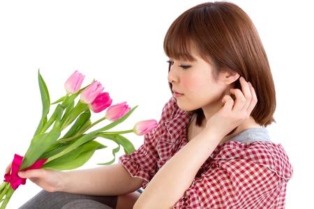 asian tulips: Beautiful young woman