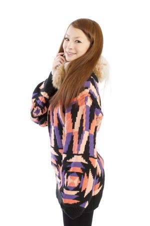 Beautiful winter woman. Portrait of asian woman.