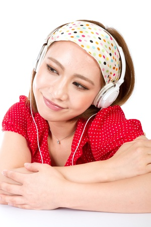 Fashionable and beautiful woman listening to music  photo