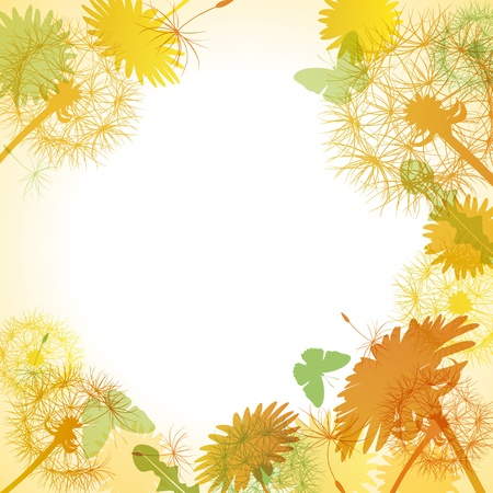 Dandelion yellow frame. Illustration vector.  Vector