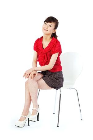 Beautiful young women sitting chair