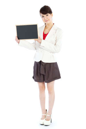 message board: Beautiful young woman with message board