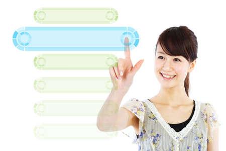 Beautiful business woman pushing message screen photo