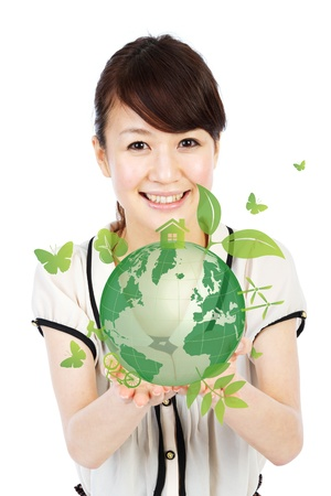 Ecology earth  Portrait of asian woman collage  photo