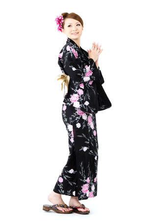 Japanese kimono woman on white background Stock Photo - 12629059