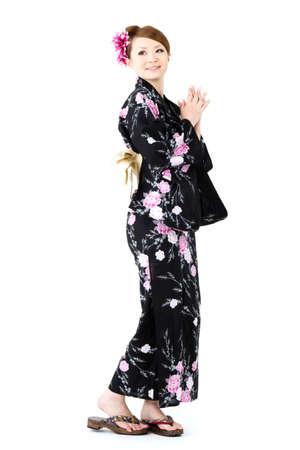 Japanese kimono woman on white background Stock Photo - 12629059