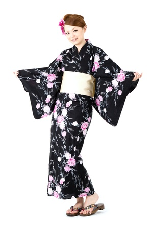 japanese kimono: Japanese kimono woman on white background