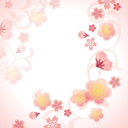 ciruela: Cerezos en flor de fondo. Ilustraci�n del vector.