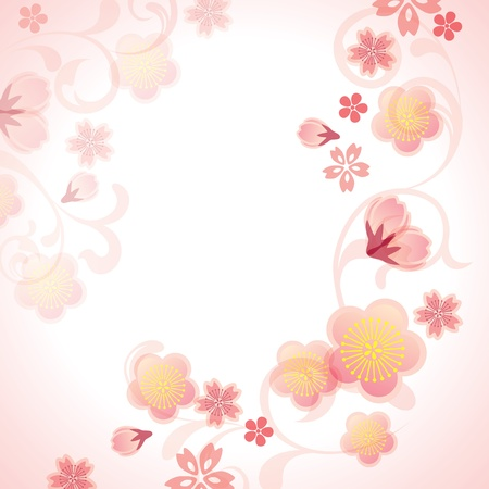 chinese art: Cherry blossoms background. Illustration vector.