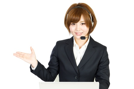 Beautiful business woman with headset  Portrait of asian woman  Stock Photo