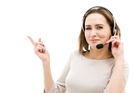 call center agent: Beautiful customer service operator woman with headset Stock Photo