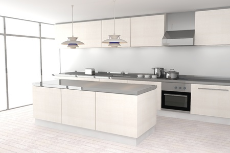 kitchen illustration: White modern kitchen Stock Photo