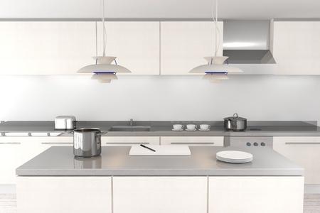 흰색 현대 부엌