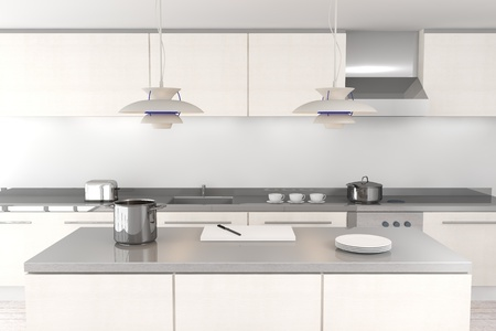 cucina moderna: Bianco cucina moderna Archivio Fotografico