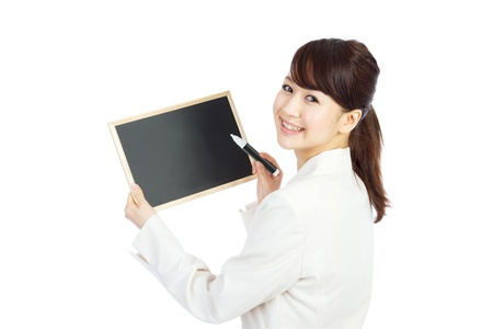 message board: Beautiful business woman with message board