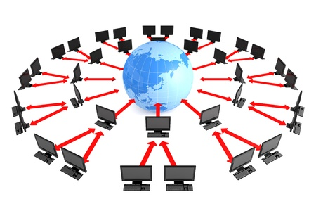Business image  World map and computer  photo
