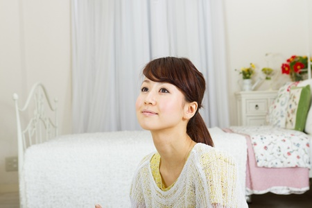 Beautiful woman relaxing in the room  Portrait of asian woman Stock Photo - 13152857