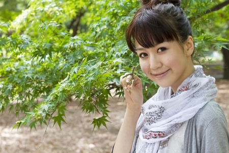 Beautiful asian woman in the forest