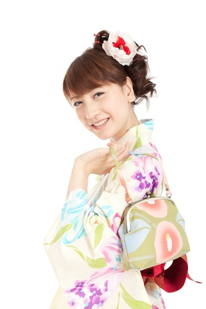 Beautiful kimono woman  Portrait of asian woman  Stock Photo - 13245373