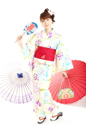 Beautiful kimono woman  Portrait of asian woman  Stock Photo - 13292965