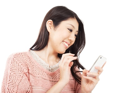 korean woman: Beautiful young woman using smart phone