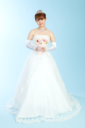 Beautiful asian woman dressed as a bride Stock Photo - 13406775